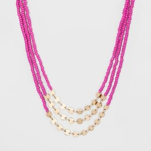 Pink, Gold Beaded Layered Necklace by baublebar